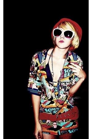 hat - sunglasses - t-shirt - - belt - swimwear