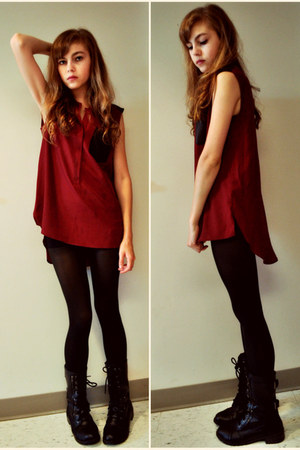 black combat boots - crimson tunic top