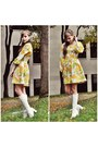 White-go-go-boots-boots-vintage-dress-olive-green-earrings