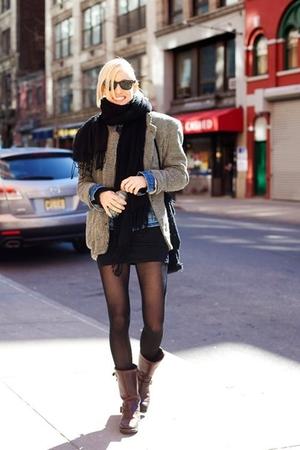 scarf - blazer - boots - jacket