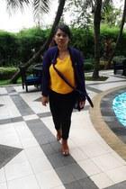 orange thrifted shirt - black thrifted pants - deep purple moms cardigan
