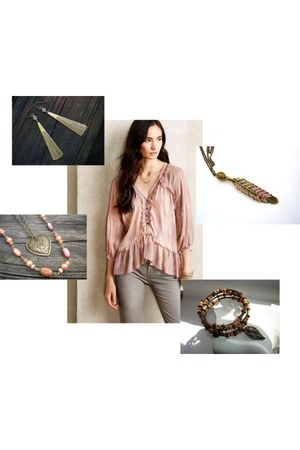 peach boho Anthropologie blouse