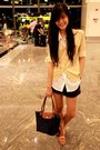 Navy-long-chomp-bag-black-shorts-white-top-beige-cardigan-tawny-flats