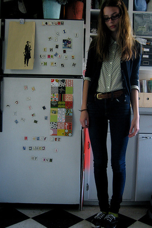 Jcrew sweater - unknown blouse - thrift belt - Cheap Monday jeans - Keds shoes