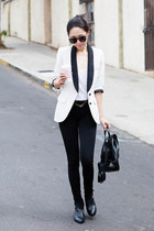white blazer - smythe blazer - Jeffrey Campbell boots - black boots