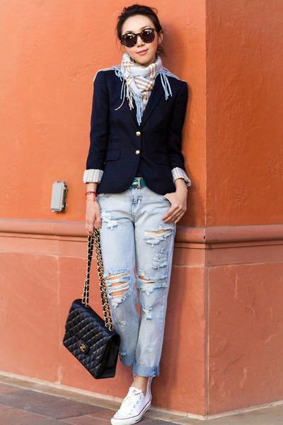 JCrew blazer - One Teaspoon jeans - Karen Walker sunglasses - Converse sneakers