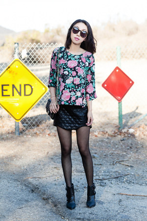 black boots - Tibi boots - Chanel bag - Karen Walker sunglasses - cameo skirt