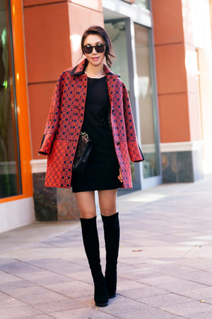 Anthropologie coat - stuart weitzman boots - Parker dress