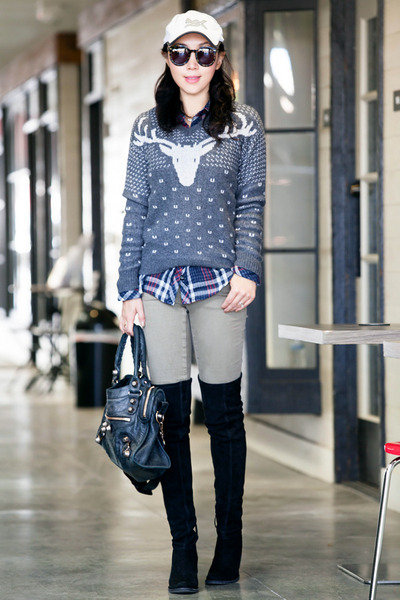 JCrew sweater - aliceolivia boots - Rails shirt - Zara pants
