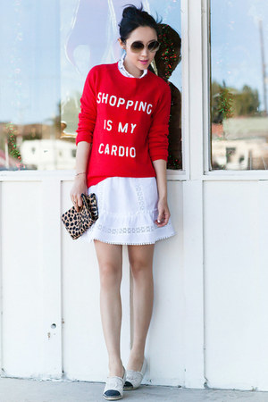 Wildfox sweater - Clare Vivier bag - Anine Bing skirt
