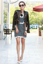 leather jacket - Alice  Olivia jacket - Finders Keepers dress - Clare Vivier bag