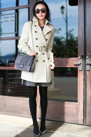Burberry coat - JCrew dress - kate spade heels