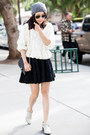 Senso-boots-american-apparel-sweater-ray-ban-sunglasses-chicwish-skirt