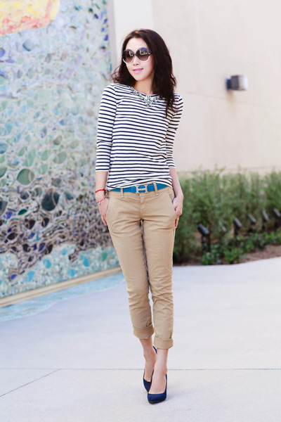 J Crew top - Stripe top - Tom Ford sunglasses - J Crew pants - Loft heels