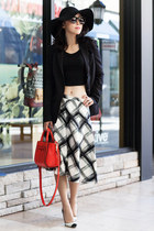 Full skirt - banana republic skirt - Fall blazer - kate spade bag - Leith top