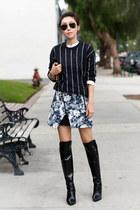 Zara skirt - Sigerson Morrison boots - Mango sweater - Clare Vivier bag