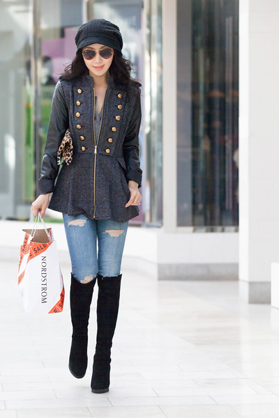 BCBGeneration coat - stuart weitzman boots - Current Elliott jeans