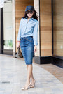 Black-hat-asos-hat-light-blue-shirt-gryphon-ny-shirt-blue-skirt