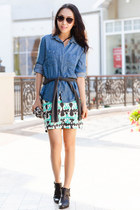 milly skirt - Jeffrey Campbell boots - Anthropologie shirt - Ray Ban glasses