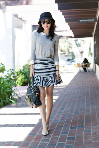 Three Floor skirt - gray skirt - charcoal gray shirt - JCrew top