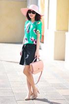 green top - JCrew top - JCrew hat - JCrew bag - light pink bag - peach heels
