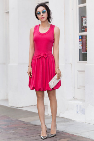 RED valentino dress - red dress - ray-ban sunglasses - kate spade heels