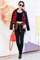 Fall blazer - Tibi boots - J Brand jeans - Baffulo jacket - kate spade bag