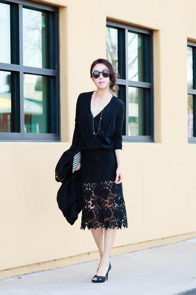 Pixie Market skirt - Karen Walker sunglasses - Nina heels - Alice Olivia top