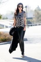 JCrew t-shirt - Anine Bing jeans - Marc by Marc Jacobs bag - ray-ban sunglasses