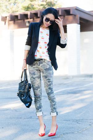 Hudson jeans - Theory blazer - black blazer - black bag