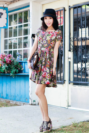 brown bag - Anthropologie dress - sam & lavi dress - Anthropologie hat