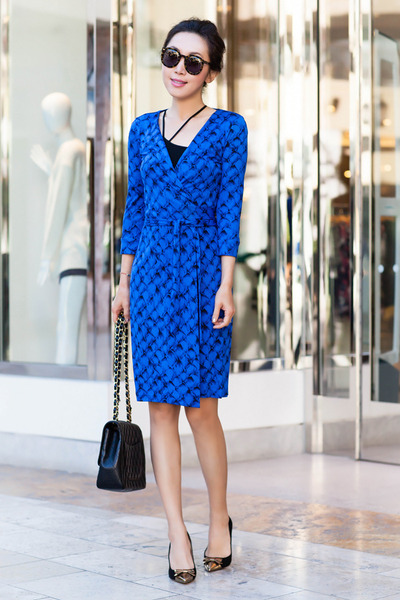 dvf dress - Chanel bag - JCrew heels - Helmut Lang bra - Karen Walker glasses