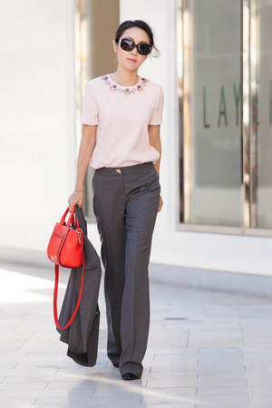 red bag - kate spade bag - Tibi boots - kate spade pants - light pink top