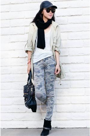 black boots - Hudson jeans - asos hat - black hat - olive green jacket