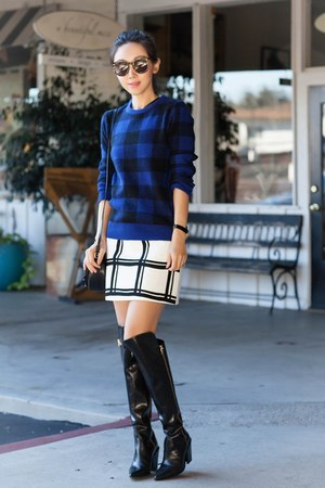 Sigerson Morrison boots - Equipment sweater - Burberry bag - Tibi skirt