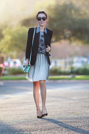 JCrew skirt - smythe jacket - loeffler randall bag