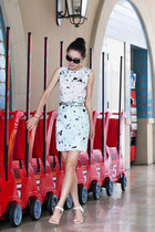 milly dress - Chanel sunglasses - Senso sandals - white heels