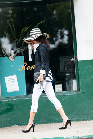 Jcrew hat - JBrand jeans - BCBG blazer - A WANG t-shirt