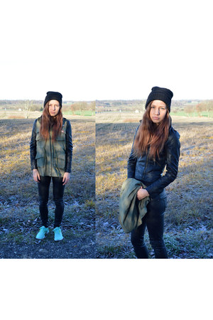 black short leather Choies jacket - army green waistcoat Choies coat