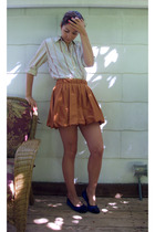 J Crew shirt - Anthropologie skirt - lanvin shoes