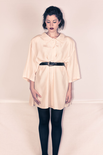pure silk marina rinaldi blouse - leather vintage belt