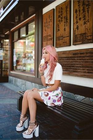 white top - white thrifted skirt