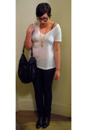 Forever21 t-shirt - MBMJ purse - vintage shoes - aa bra