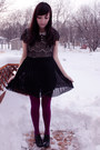 Magenta-we-love-colors-tights-black-miss-patina-dress-black-aldo-shoes