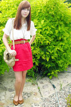 white Sirens blouse - brown Wet Seal shoes - beige Aldo bag - red Dynamite skirt