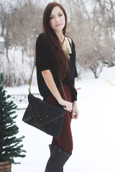 black LuLus boots - black Matt & Nat purse - maroon romwe pants