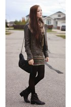charcoal gray Steve Madden boots - light brown Forever 21 jacket