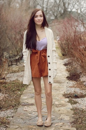 burnt orange romwe shorts - eggshell LuLus shoes - light purple LuLus top