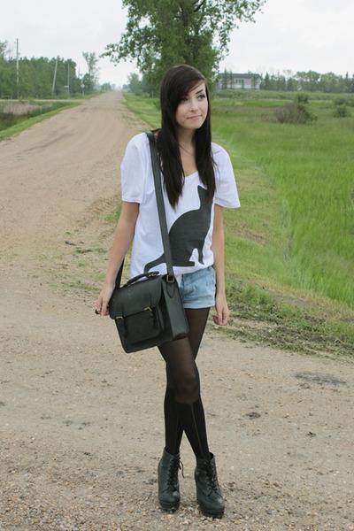 black romwe tights - black acid reign shirt