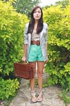 brown romwe bag - silver Costa Blanca blazer - aquamarine romwe shorts